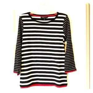 NWT Jones New York Blk/Wht/Red 3/4 sleeve Size L